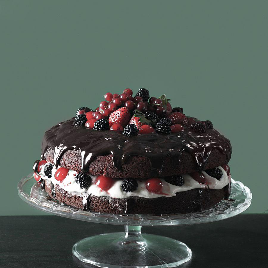كعكة الشوكولاتة بالفواكة